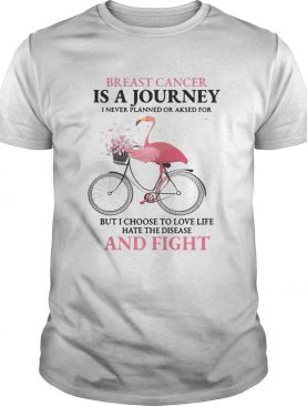 Flamingo breast cancer is a journey I never planned or asked for t-shirt