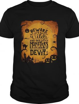 Monsters Garden Flag beware a witch and her little monsters Halloween t-shirt