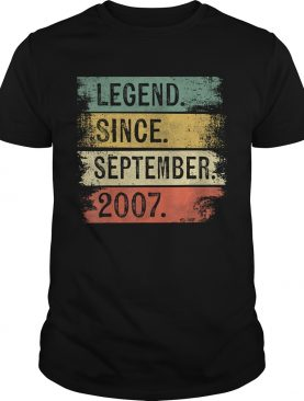 1568290189Legend Since September 2007 12th Birthday Gifts 12 Year Old T-Shirt