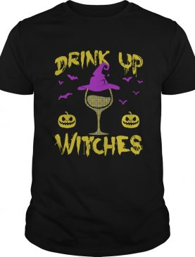 Drink Up Witches Happy Halloween Wine Drinking Women Shirt