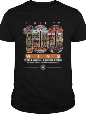 First to 100 wins Houston Astros Tshirt