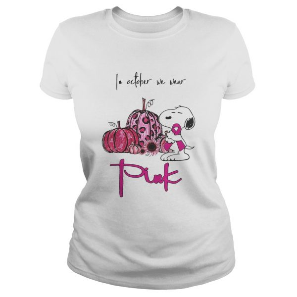 Snoopy and pumpkin in october we wear pink  Classic Ladies