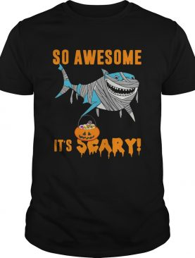 So Awesome Its Scary Pumpkin Mummy Shark Halloween Funny TShirt