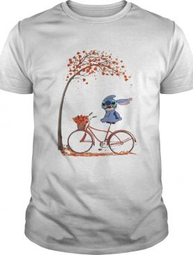 Stitch riding bicycle autumn leaf tree shirt