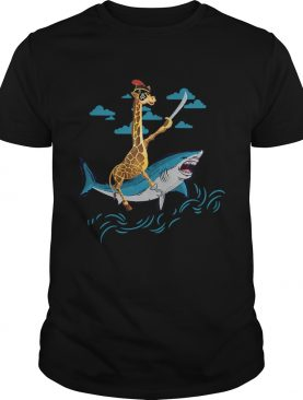 Giraffe Pirate Riding Shark Sword Cute Animal Halloween Gift TShirt