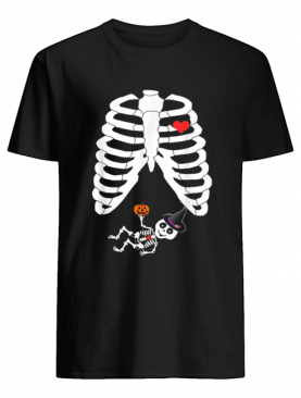 Halloween Skeleton Pregnancy Heart Baby Girl X-Ray shirt