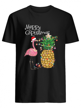 Merry Christmas Pink Flamingo Christmas T-Shirt