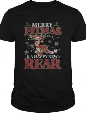 Merry Fitmas And Happy New Rear Reindeer Fitness Shirt