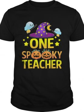One Spooky Teacher Halloween Gifts Ghost Witch Hat shirt