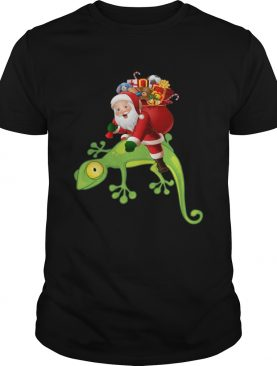 Santa Riding Lizard Christmas Pajama Shirt