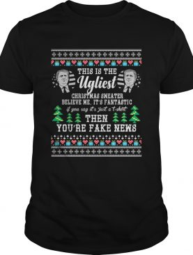 Trump Ugly Christmas Sweater Fantastic Fake News TShirt