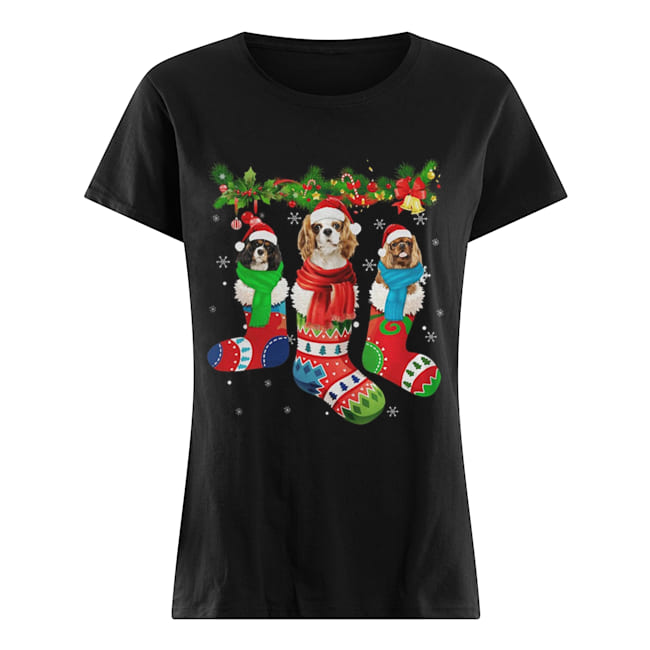 Cavalier King Charles Spaniel in stocking Merry Christmas Classic Women's T-shirt