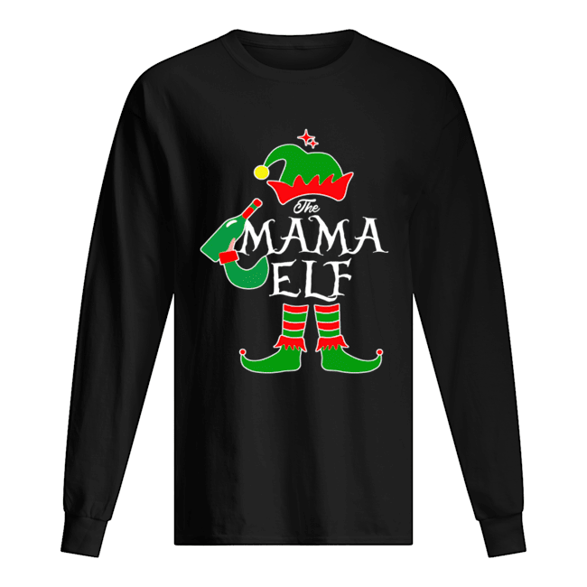 Funny The Mama Elf Family Matching Group Christmas Long Sleeved T-shirt