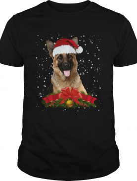 German Shepherd In Christmas Hat Funny Xmas shirt