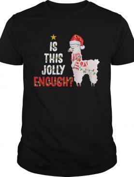 Is This Jolly Enough Llama Funny Xmas Christmas shirt