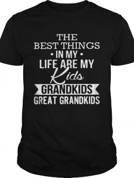The best things in my life are my kids grandkids great grandkids shirt