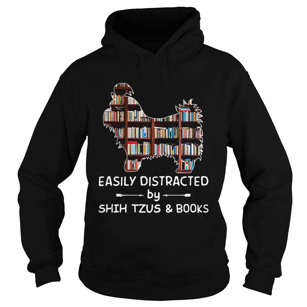 Easily Distracted By Shih Tzus And Books Crewneck Hoodie