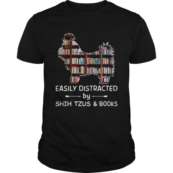 Easily Distracted By Shih Tzus And Books Crewneck  Unisex