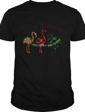 Merry Christmas Flamingo Lumberjack shirt
