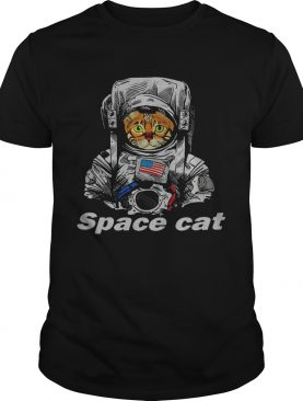 Astronaut Space Cat America flag shirt