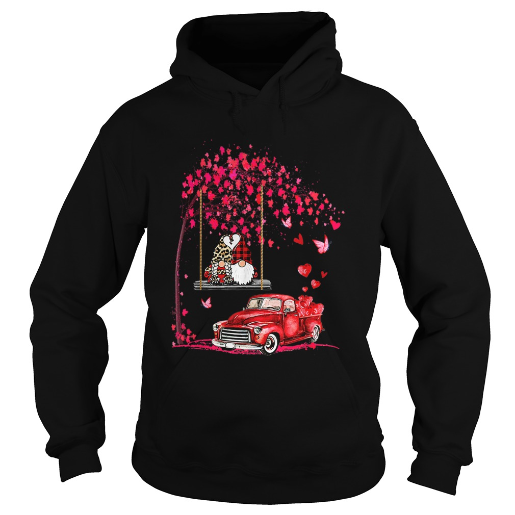 Gnomes Red Truck Tree Valentines Day Hoodie