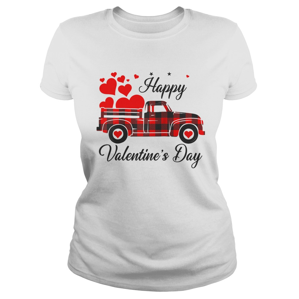 Happy Valentines Day Heart Graphic Love Truck Buffalo Plaid Classic Ladies