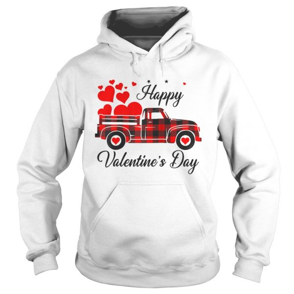 Happy Valentines Day Heart Graphic Love Truck Buffalo Plaid  Hoodie