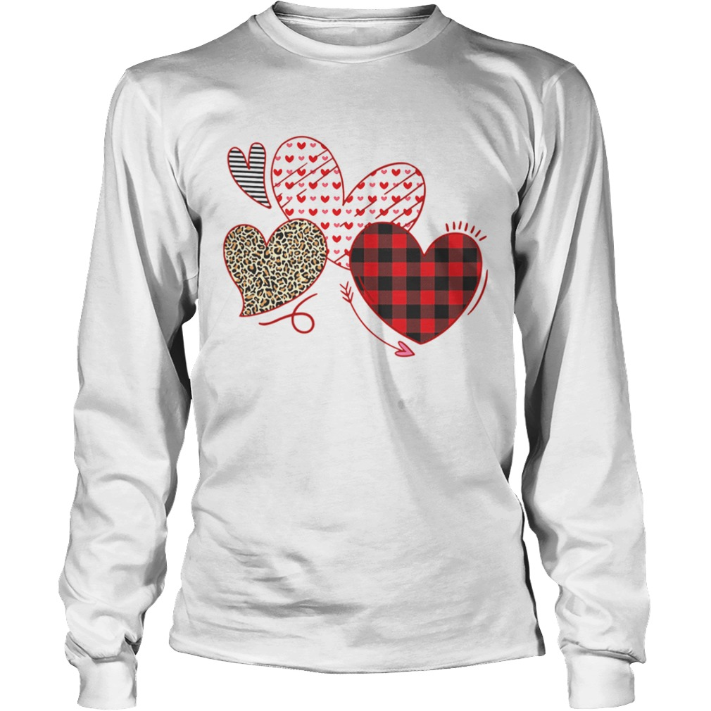 Hearts And Arrows Leopard Plaid Valentines Day LongSleeve
