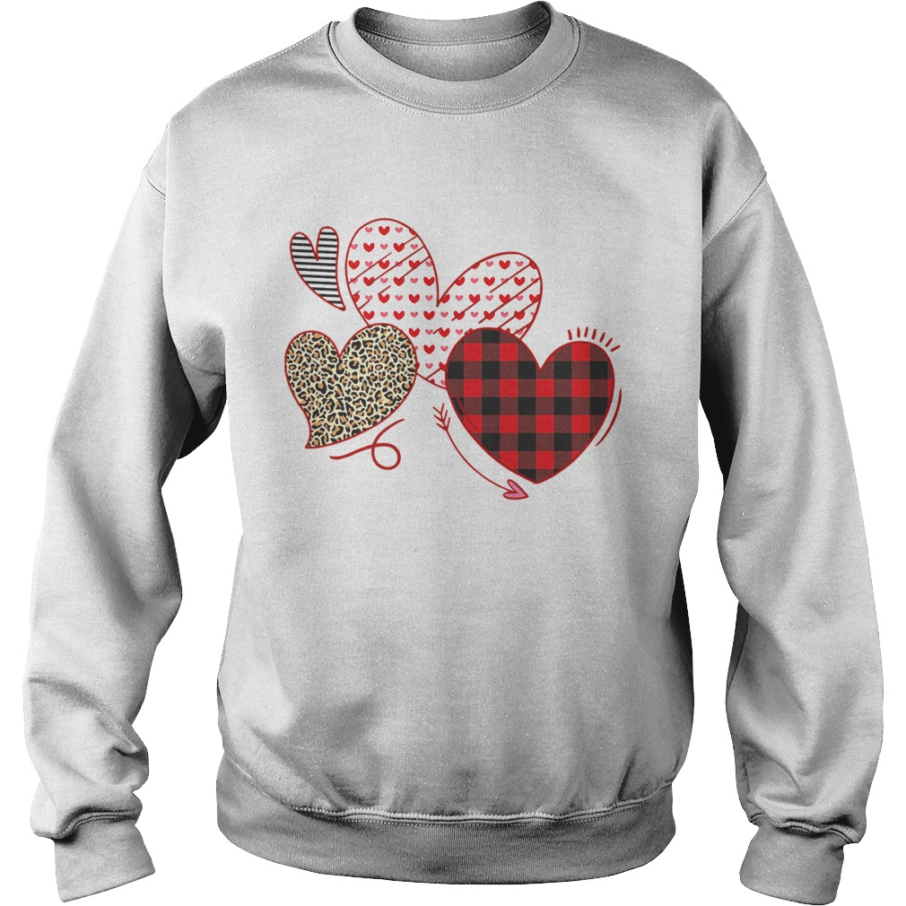 Hearts And Arrows Leopard Plaid Valentines Day Sweatshirt