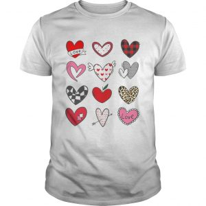 Hearts Shirt Valentines Day Leopard Plaid Love  Unisex