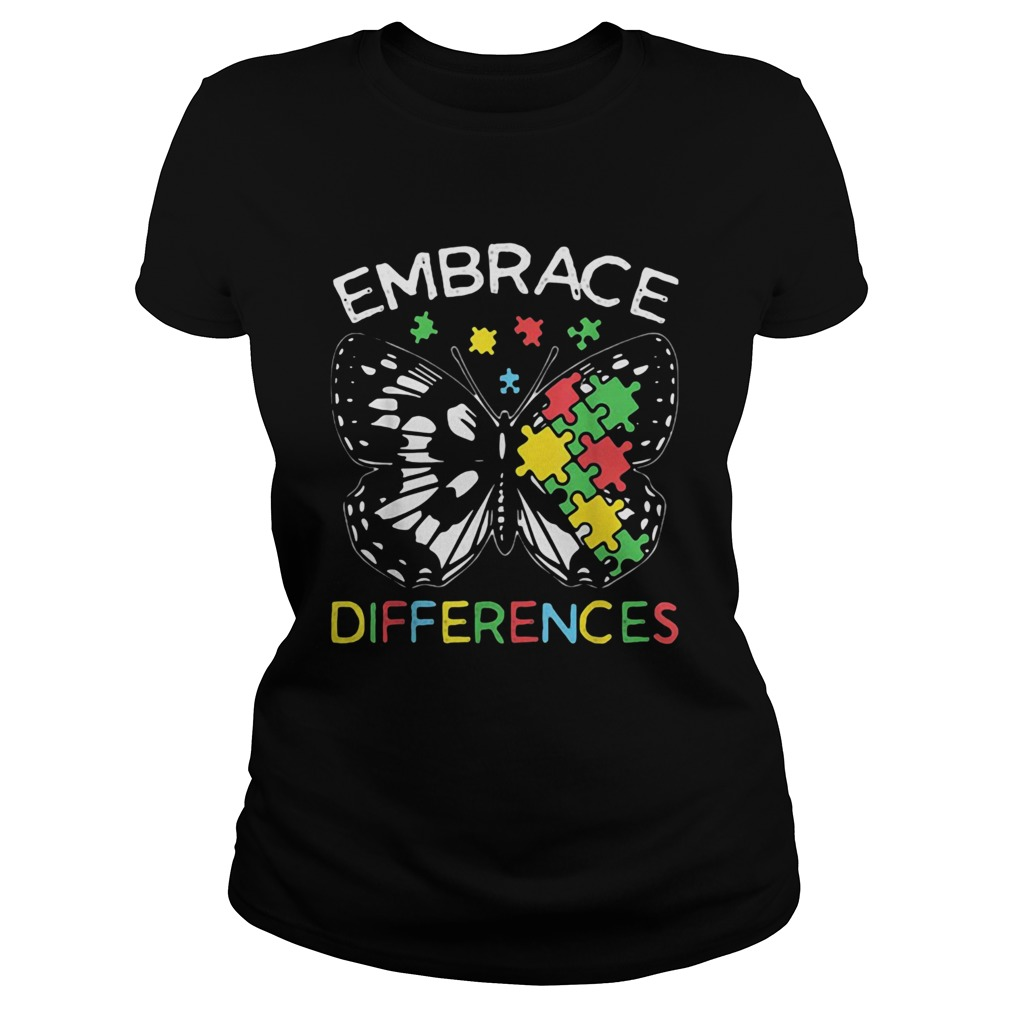 Embrace Differences Autism Butterfly Puzzle Piece Classic Ladies