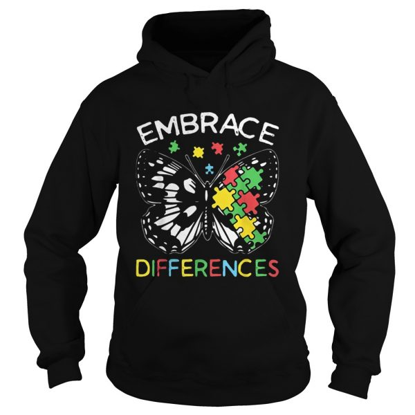 Embrace Differences Autism Butterfly Puzzle Piece  Hoodie