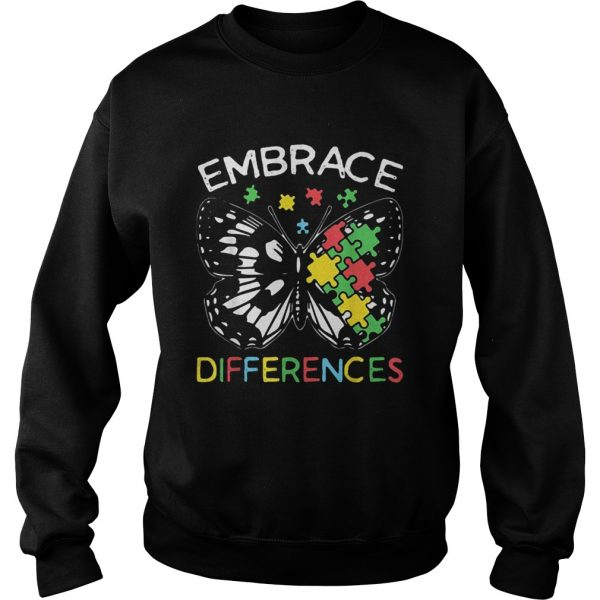 Embrace Differences Autism Butterfly Puzzle Piece  Sweatshirt