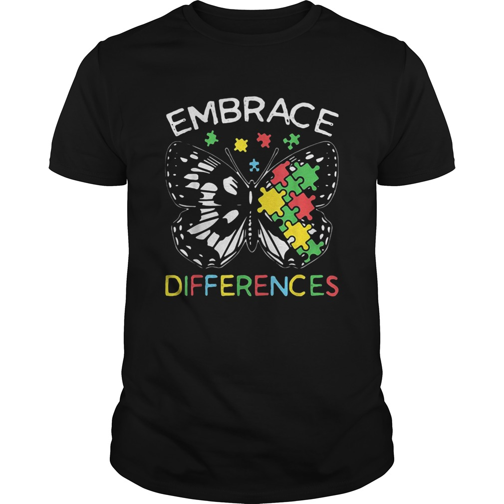 Embrace Differences Autism Butterfly Puzzle Piece Unisex
