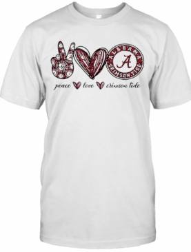 Peace Love Alabama Crimson Tide Logo T-Shirt