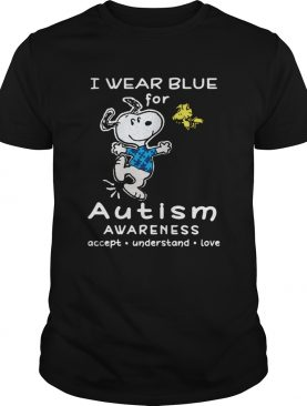 Snoopy And Charlie Brown I Wear Blue For Autism Awareness shirt