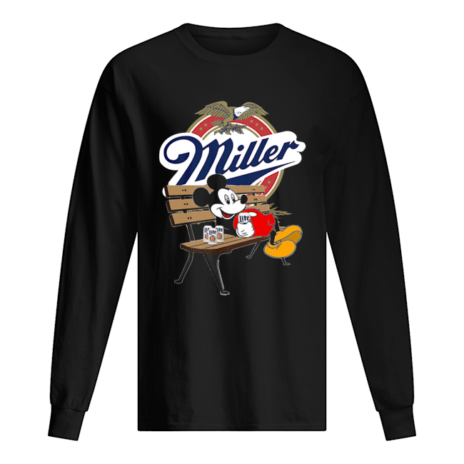 Mickey Mouse Drink Miller Beer  Long Sleeved T-shirt