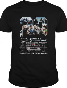 20 years of 2001 2021 9 movies fast and furious thank you for the memories signatures shirt