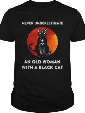 Never Underestimate And Old Woman With A Black Cat Moon shirt