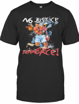 Black Leather Boxing No Justice No Peace Butterfly Bee T-Shirt