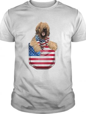 Briard pocket american flag independence day shirt
