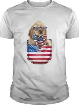 Buff cocker spaniel pocket american flag independence day shirt