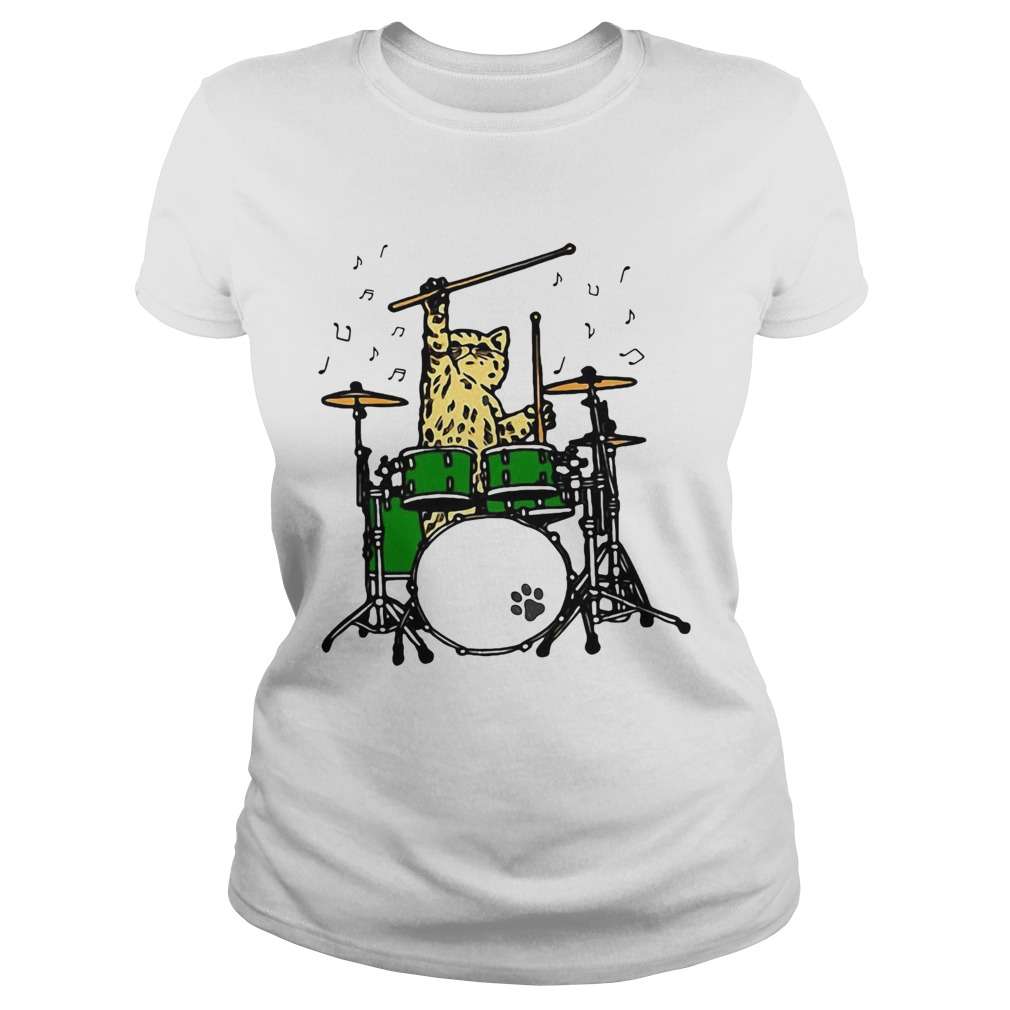 Cat Playing Drums  Classic Ladies