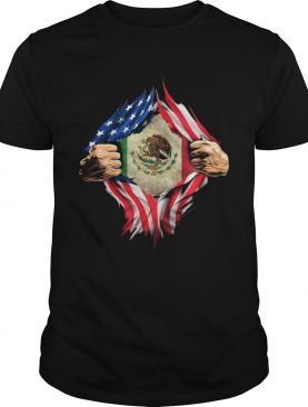 Mexican Flag Emblem American flag veteran Independence day hand shirt