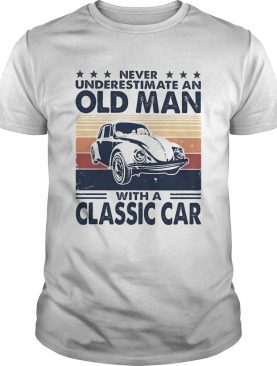 Never underestimate an old man with a classic car vintage retro stars shirt