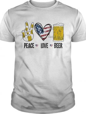 Peace love beer heart American flag veteran Independence day shirt