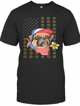 Pug American Flag Veteran Independence Day T-Shirt