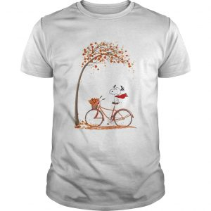 Snoopy and bicycle autumn yellow leaves  Unisex