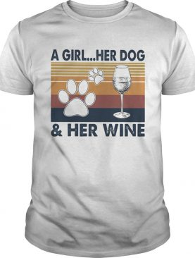 A Girl Her Dog And Her Wine Footprint Vintage Retro shirt