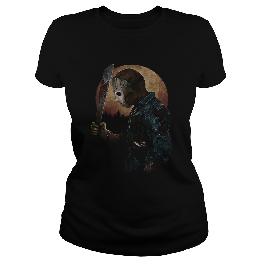 Halloween michael myers holding knife moon Classic Ladies